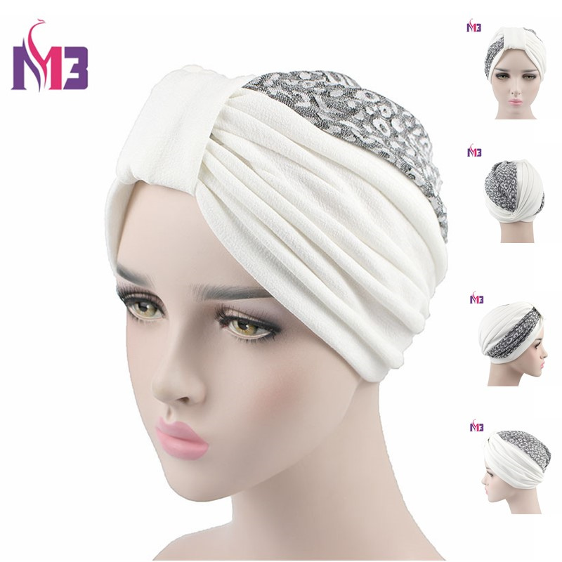 New Fashion Women Turban Asymmetric Patchwork Twist Shiny Lace Headband   Headwear   For Chemo Hijab Turbante Hair Accessories