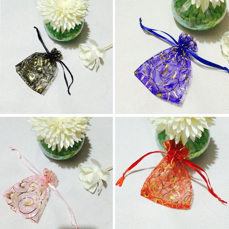 50pcs Organza Sachet Eyelash Decor Wedding Party Candy Jewelry Gift Pouch Bag
