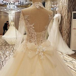 Image 5 - גבוהה צוואר סקסי תחרה חתונה שמלות 2020 שמפניה נצנצים אפליקציות חתונת הכלה Vestido דה Noiva נדל תמונה