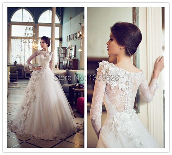 vestido de noiva wedding dress 2014 Long sleeve illusion neckline ...