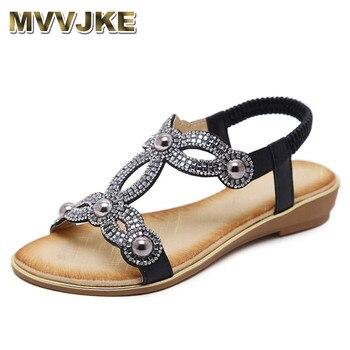 e5c2715b444d MVVJKE Europea sandalias de moda de la flor de cuentas de cristal de  diamantes de imitación de diamantes de lujo de alta calidad sandalias de  mujer de gran ...