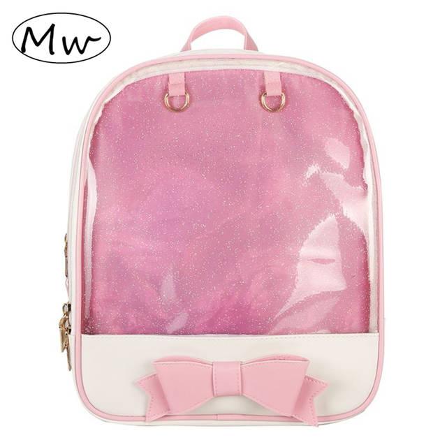 Online Shop Summer Candy Color Transparent Bowknot Backpack Preppy