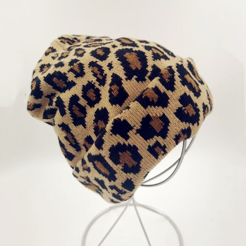 2019 Winter Women Leopard Beanie Hats Hot Sale Warmer Ladies' Hats  Fashion Leopard Print Knitted Winter Skulles Caps