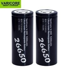 2PCS VariCore חדש 26650 ליתיום סוללה 3.7V 5200mA V 26D פורק 20A כוח סוללה עבור פנס E כלים סוללה
