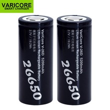 2PCS VariCoreใหม่26650แบตเตอรี่Li Ion 3.7V 5200mA V 26D Discharger 20Aแบตเตอรี่สำหรับไฟฉายE เครื่องมือแบตเตอรี่