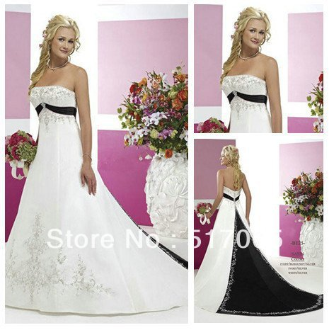 Vintage style silver embroidery on satin black and white for Black and silver wedding dress