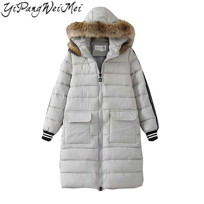ФОТО YiPangWeiMei 2017 Autumn Winter New Fashion Women Coat Faux Fur Collar Hooded Parkas Medium Length Casual Warm Lady Coats