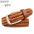 2016 New Belt Man Fashion Mens belts luxury genuine leather Brown braided Real Cow skin straps men Jeans Wide girdle Male