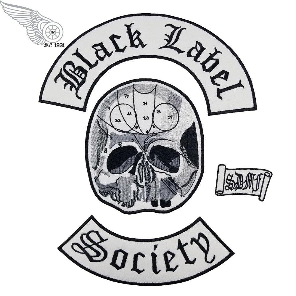 Vendita all'ingrosso Eccellente Black Label Society Ferro Ricamato Badge/Patch 4 pz Posteriore Set Giacca Biker Rider Vest Badge Spedizione libero