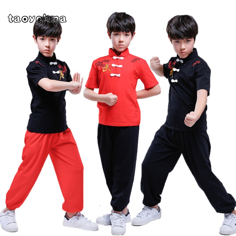 Taoyekma 2019 New High Quality Kids Short Sleeve Wushu Uniform Practice Training Performance Costume Taichi Suits For Boys Girls