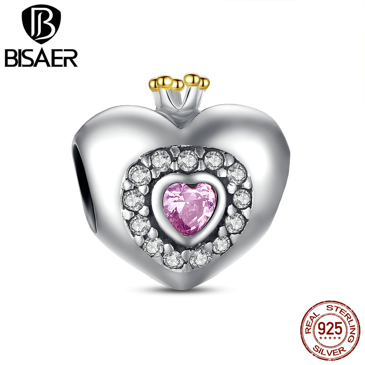 Valentine Gift Original 925 Sterling Silver Princess Heart Pink CZ Charm emp Pendant Fit Pan Bracelet Jewelry Making HJS005