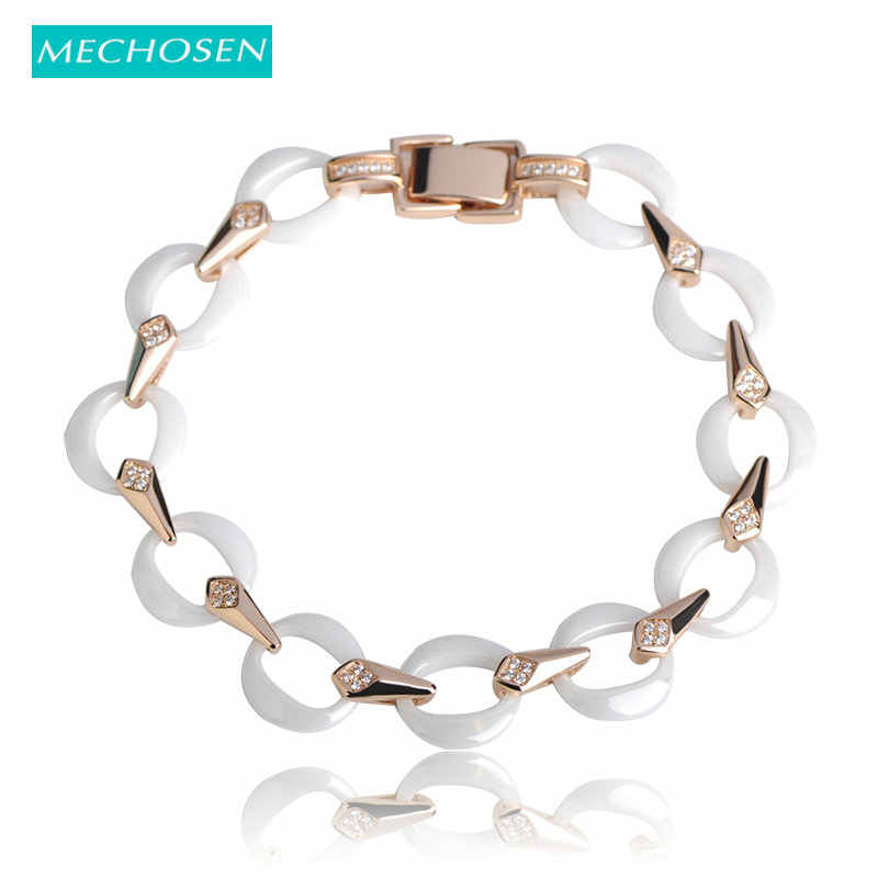 MECHOSEN Round Chain Ceramics Bracelets Shiny AAA Zircon Stone Jewelry Women's Party Engagement Exquisite Wrist Best Decorations
