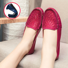 MUYANG Women Flats 2017 Fashion Genuine Leather Rhinestone Flat Shoes Woman Casual Soft  Round Toe Women Shoes