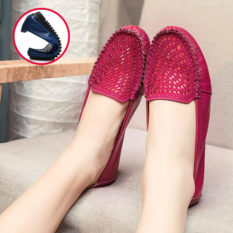 MUYANG Mujeres Pisos 2017 Moda de Imitación de Cuero Genuino Zapatos Planos de L