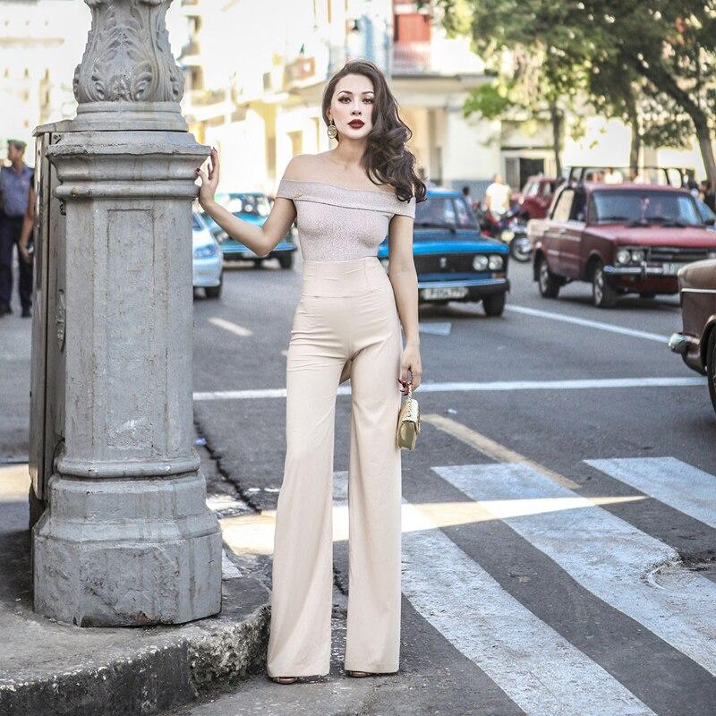 Le palais vintage 2018 été Vintage en mousseline de soie large jambe pantalon femmes élégant faux ceinture taille réglable Slim taille haute pantalon