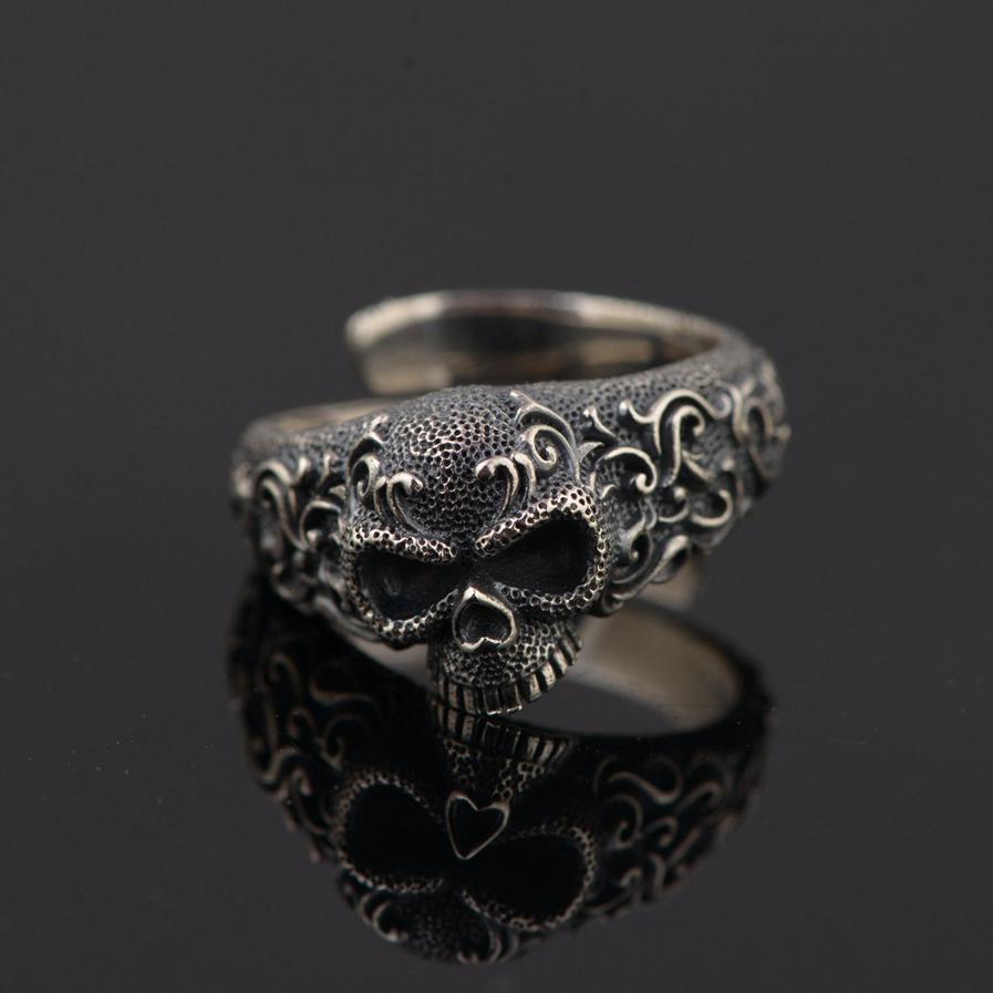 цена на Gothic Punk Skull Rings For Men And Women 925 Sterling Silver Jewelry Resizable Vintage Flower Engraved Skeleton Finger Band