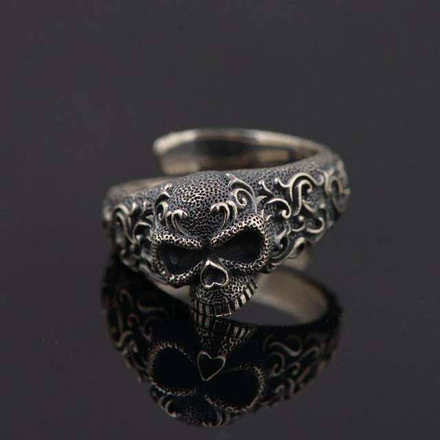 100% 925 STERLING SILVER GOTHIC PUNK SKULL RINGS