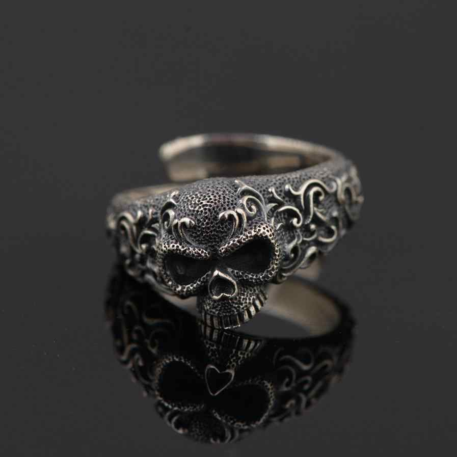 b8939b342bd7f9 Gothic Punk Skull Rings For Men And Women 925 Sterling Silver Jewelry  Resizable Vintage Flower Engraved