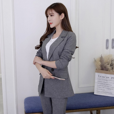 Suit jacket female pants suit slim long-sleeved double-breasted blazer Fashion trousers 2019 autumn new women's clothing OL