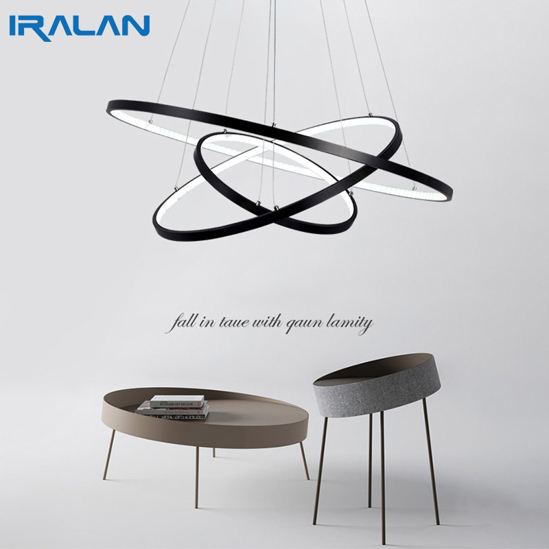 Modern pendant lights for living room dining room 4/3/2/1 Circle Rings acrylic aluminum body LED ceiling Lamp modern led pendant lights for living room 3 2 1 circle rings acrylic aluminum body pendant lamp hanglamp lamparas colgantes