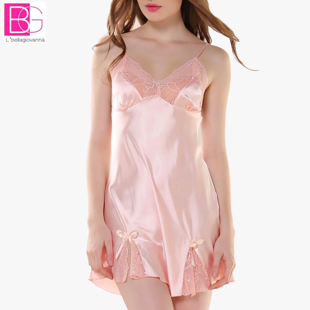 Lbellagiovanna Night Dress Women Spaghetti Strap Sleepwear V-Neck Lace Nightdress Nightgrown Robes Nightwear Sleep Dress