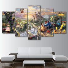 Modern Canvas Wall Art Home Decor For Living Room HD Printed Poster 5 Pieces Cartoon Castle Beauty And The Beast Painting