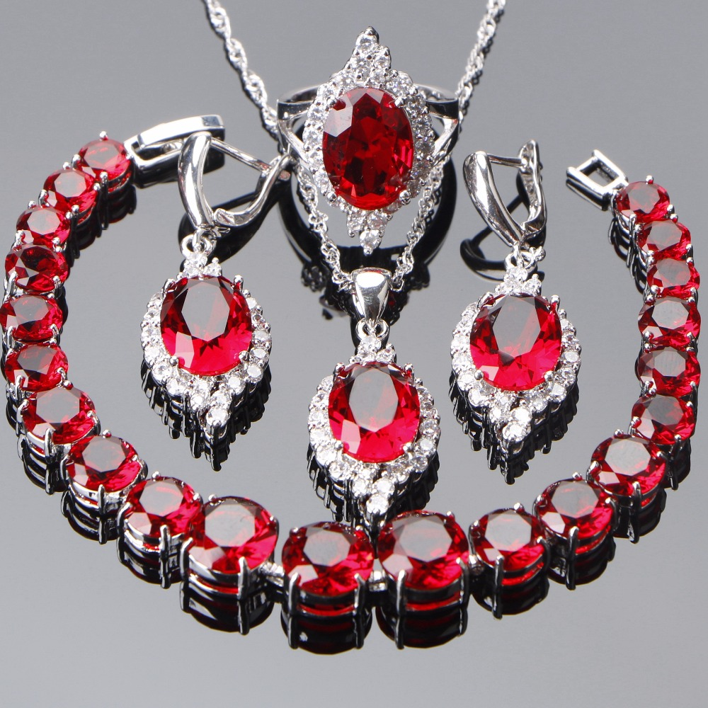 Costume Red Zircon Bridal Jewelry Sets