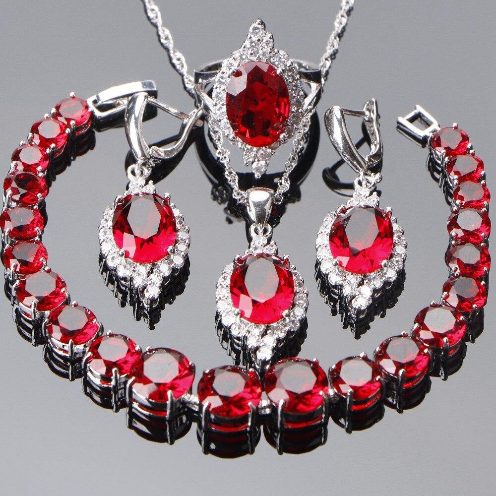 Schmuck & Zubehör 925 Sterling Silber Kostüm Braut Schmuck Sets Frauen Rot Zirkon Armbänder Halsketten Anhänger Ohrringe Steine Ringe Set Geschenk Box