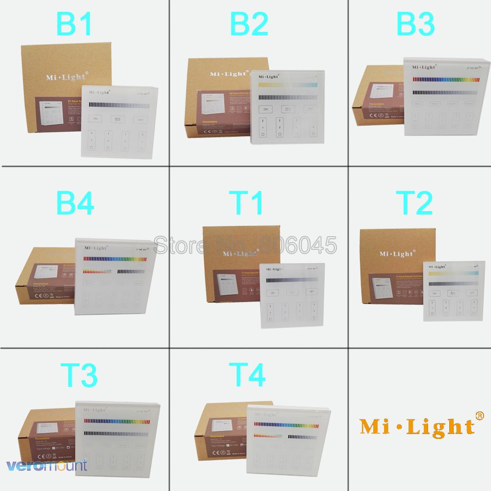 Milight Smart Touch Panel Controller T1 T2 T3 T4 B1 B2 B3 B4 Single Color /  CCT / RGBW / RGB + CCT Controller for LED Strip Bulb