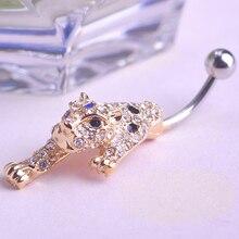 Moda Pircing inoxidable cristalino del Rhinestone del leopardo del Ombligo del vientre Button Bar anillo Piercing a estrenar Pirsing Ombligo Grillz Vaz