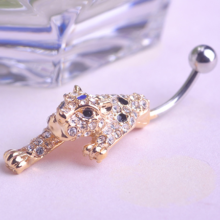 Fashion Pircing Stainless Rhinestone Crystal Leopard Belly Navel Button Bar font b Ring b font Piercing