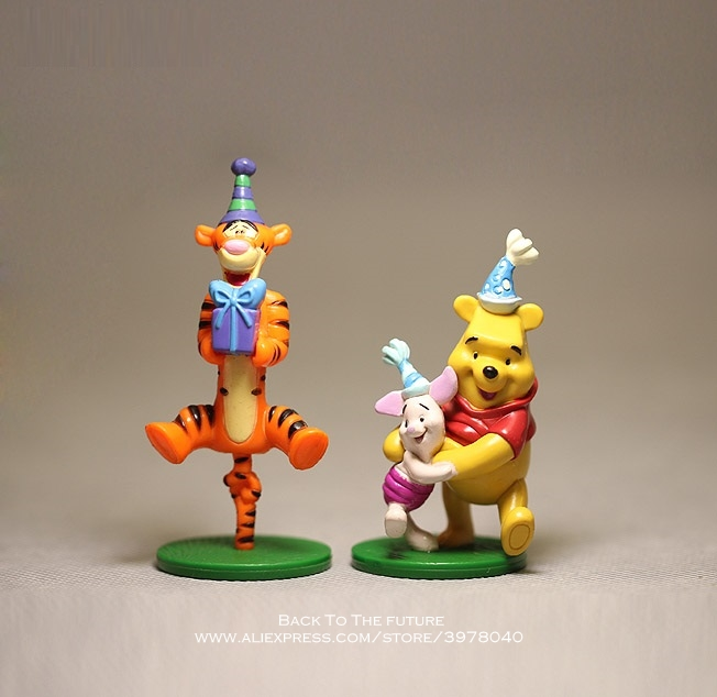Disney Winnie The Pooh Tigger Piglet 2pcs/set 7-8cm Action Figure Anime Decoration Collection Figurine Toy Model For Children