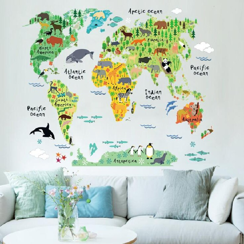 fashion large world map wall stickers original creative letters map wall art bedroom home decorations wall decals in wall stickers from home garden on