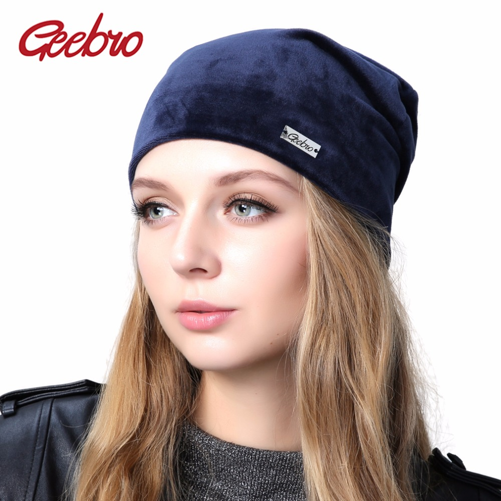 Geebro Women's Velour Beanie Hat Spring Casual Polyester Knitted Plain Color Skullies Beanies Hats For Women Balaclava Bonnet