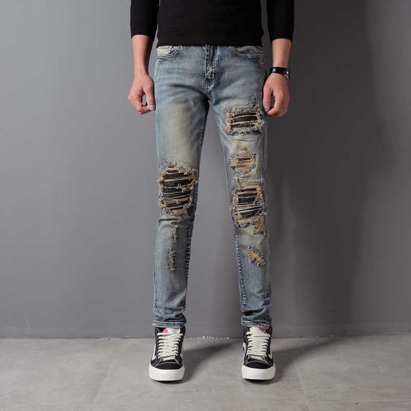 Fashion Streetwear Men's Jeans Punk Style Slim Fit Destroyed Ripped Jeans Men Stretch Denim Pants Blue Color Brand Hip Hop Jeans euramerican style baggy hip hop men jeans widened increase skateboard pants comfortable mid waist casual mens streetwear jeans