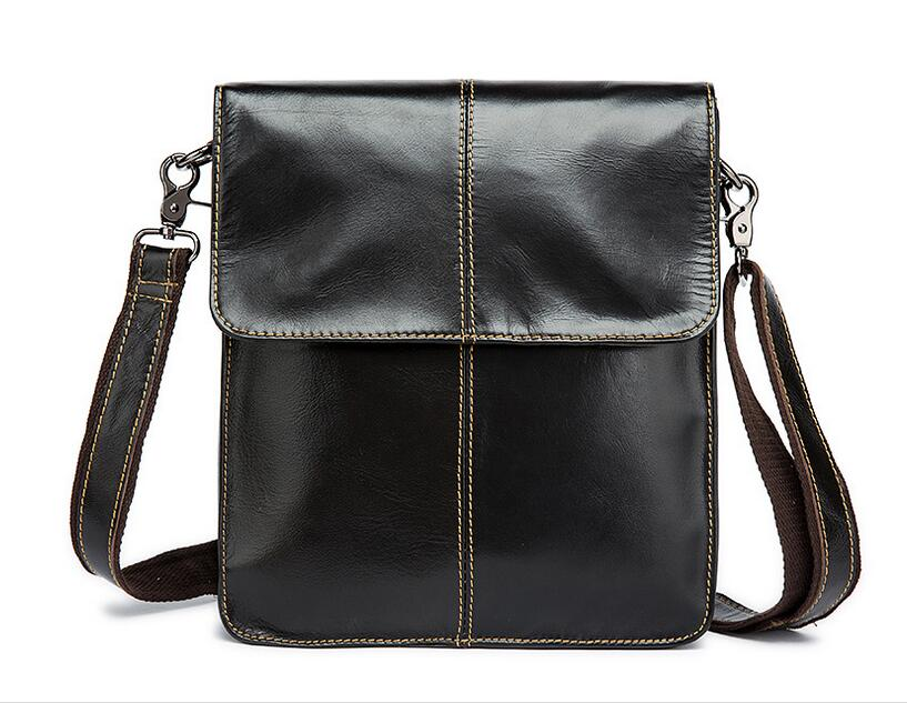Men's oil wax cowhide leather small messenger bag vintage shoulder bag vertical casual first layer genuine leather handbag leather handbag shoulder bag casual first layer of leather men s oil wax messenger bag korean man bag tide