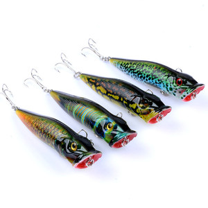 Image 3 - 2017 New 4Pcs Popper Fishing Lures Crankbaits Floating Fishing Tackle Wobblers 3D eyes ABS Plastic Hard Bait 6# Hook 94mm 12.1g