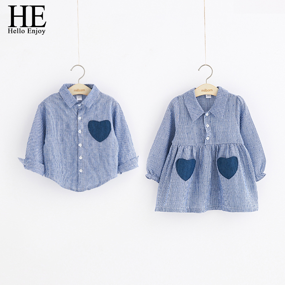 HE Hello Enjoy Girls Dresses Spring Autumn Boys Shirts Long Sleeve Love Pocket Shirts and Stripe Dress Brother And Sister KidsHE Hello Enjoy Girls Dresses Spring Autumn Boys Shirts Long Sleeve Love Pocket Shirts and Stripe Dress Brother And Sister Kids