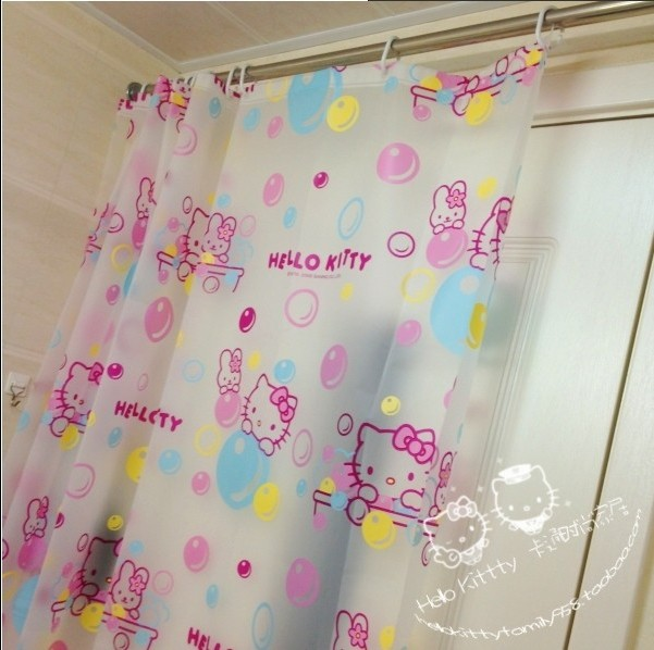 Eco-friendly PEVA Hello Kitty Shower Curtains Waterproof Mould Proof Bathroom Curtain With Shower Hooks Bath Screens 180*180cm