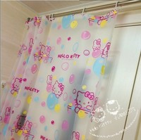 Eco friendly PEVA Hello Kitty Shower Curtains Waterproof Mould Proof Bathroom Curtain With Shower Hooks Bath Screens 180*180cm