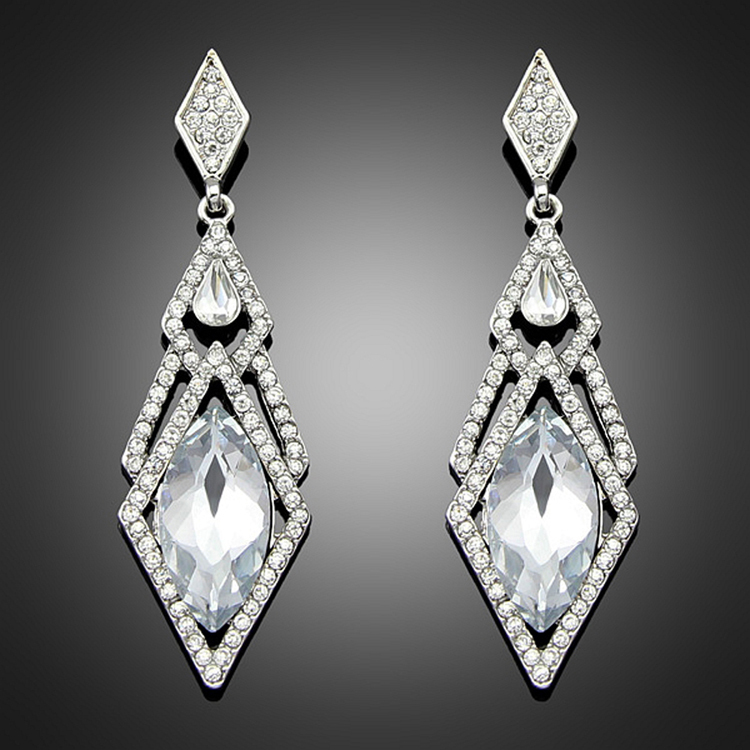 Drop Shipping Hypoallergenic Rhinestones Inlaid Woman Earrings Charming Jewelery Accessories