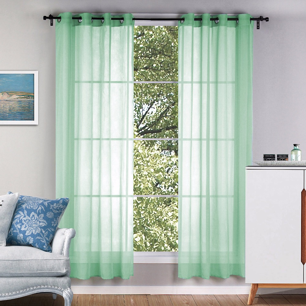Green curtains for bedroom - Sunnyrain 1 Piece Green Sheer Curtain For Living Room Translucidus Tulle For Bedroom Drape Top With Eyelet Cortinas
