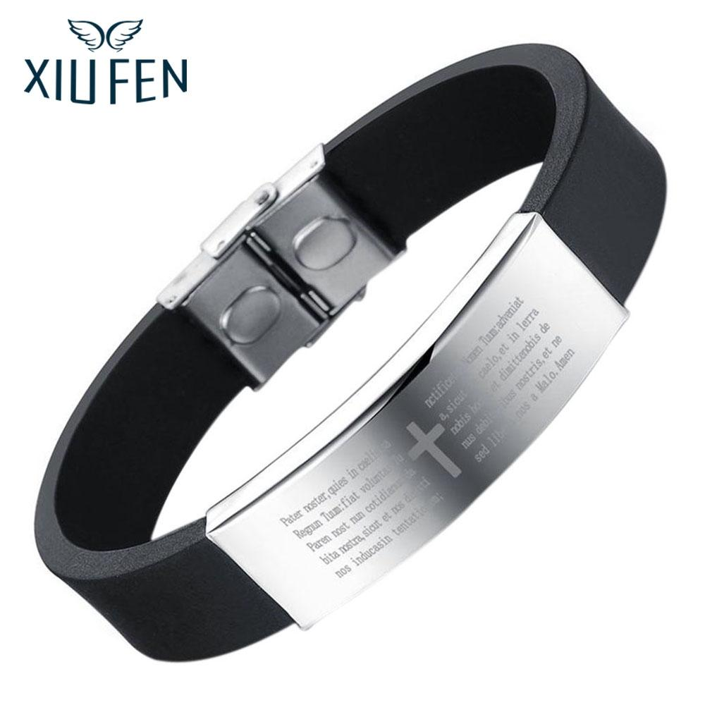 XIUFEN Bangle Fashion Stainless Steel Cross Pattern Silicone Wrist Cuff Bangle For Men Christmas New Year Birthday Gift ZK30