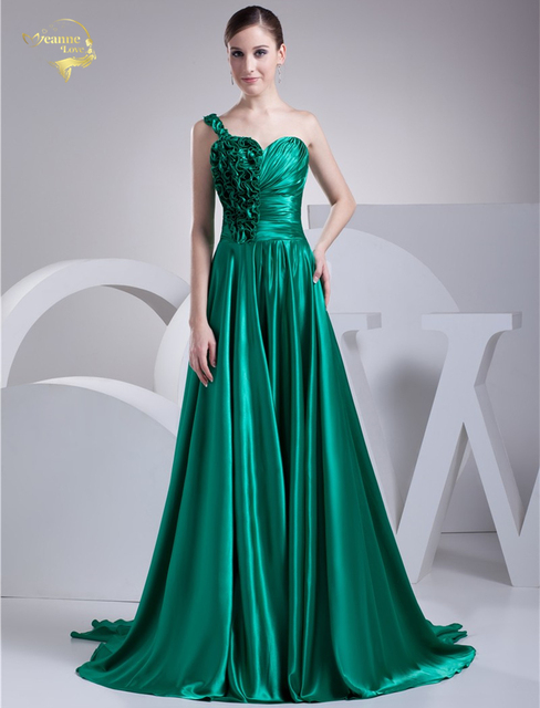 2019 New Design Vestido De Festa Satin Green Zipper Back One Shoulder Formal  Long Tail Evening 10c5613c2782