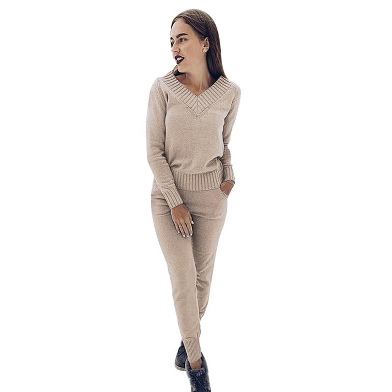 MVGIRLRU Winter Women s Sets warm wool knitted suits long sleeve v neck sweaters pants loose