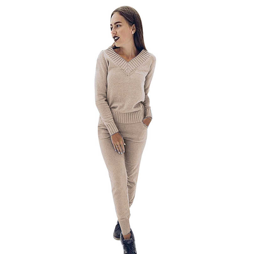 MVGIRLRU Winter Women's Sets warm wool knitted suits long sleeve v-neck sweaters+pants loose style 2 piece set Feminine clothes