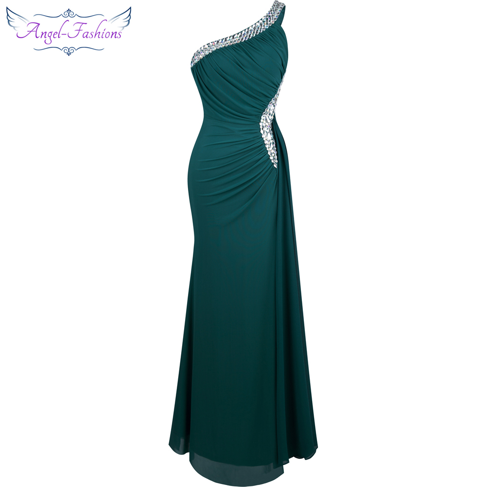 Angel-fashions Beading One Shoulder Silt Pleat Draped Evening Dress vestido de noiva 411 Green(China)