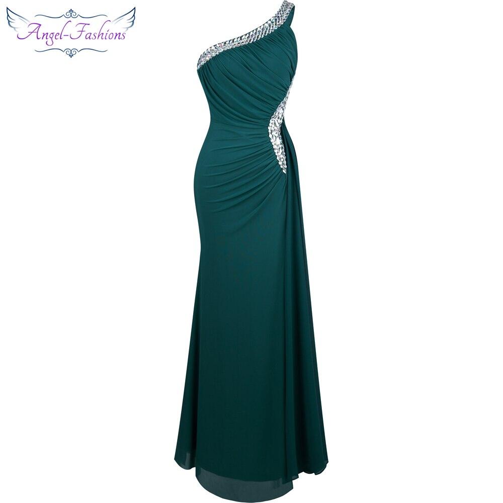 Angel-fashions Perline Una Spalla Limo Piega Drappeggiato Abito Da Sera vestido de noiva 411 Verde