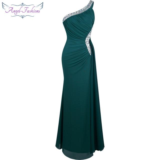 فستان سهرة ثنيات كتف واحد مطرز بالخرز من Angel fashions فستان سهرة vestido de noiva 411 أخضر