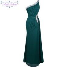 מלאך אופנת ואגלי אחת כתף סחף קפל עטוף שמלת ערב vestido דה noiva 411 ירוק